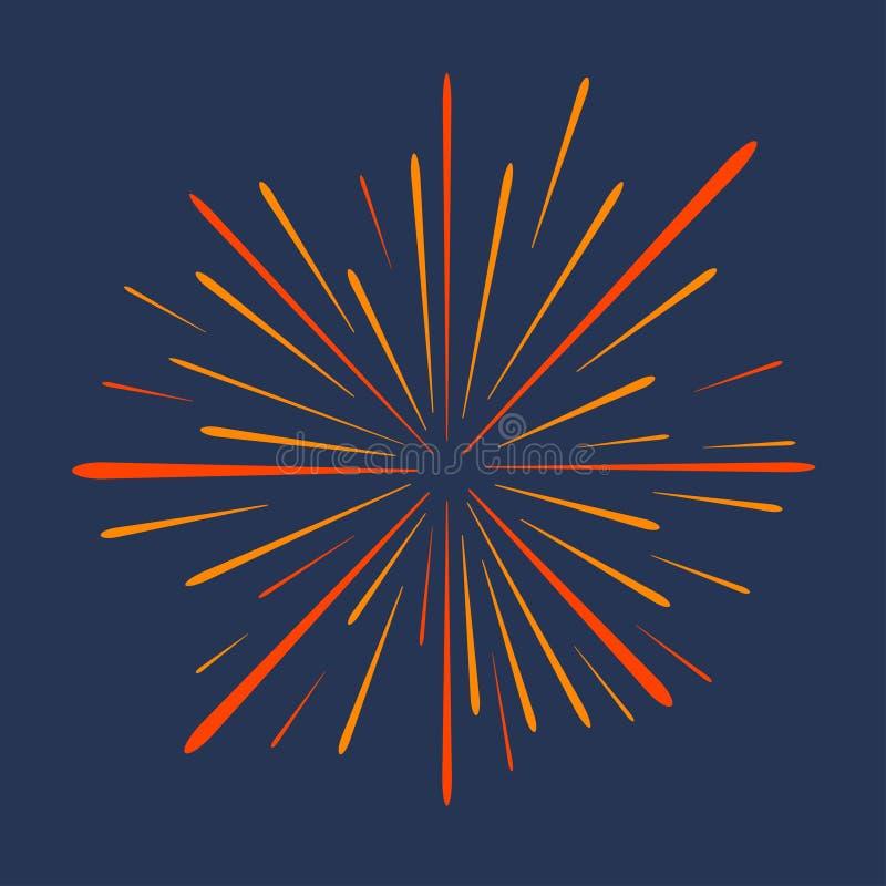 firework Saludo festivo, explosión de la celebración, el estallar del aniversario aislado en fondo oscuro Vector ilustración del vector