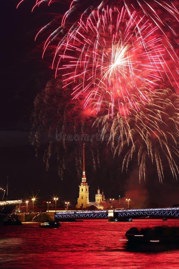 Firework in Sankt-Peterburg. Russia. Firework in Sankt-Peterburg. Night views of the city of St. Petersburg. Russia stock image