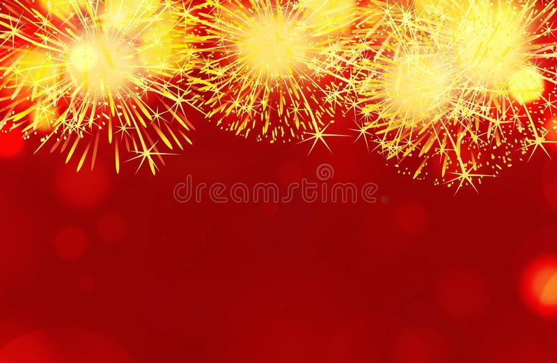 Firework show on red  background. Independence day ans happy new year concept royalty free stock photo