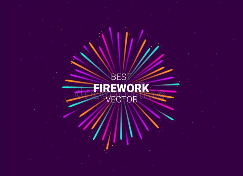 Firework show on violet night sky background with glow and sparkles. New year concept. Invitation, card, party background. Vector illustration vector illustration
