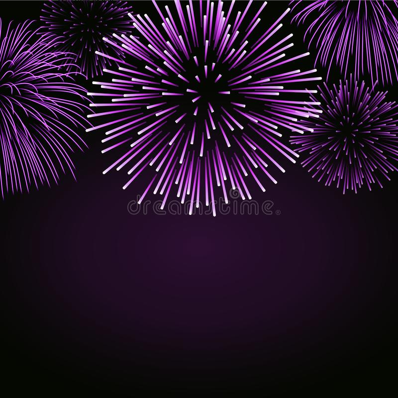 Firework sparkle background card. Beautiful bright fireworks on black background. Light pink decoration stock illustration