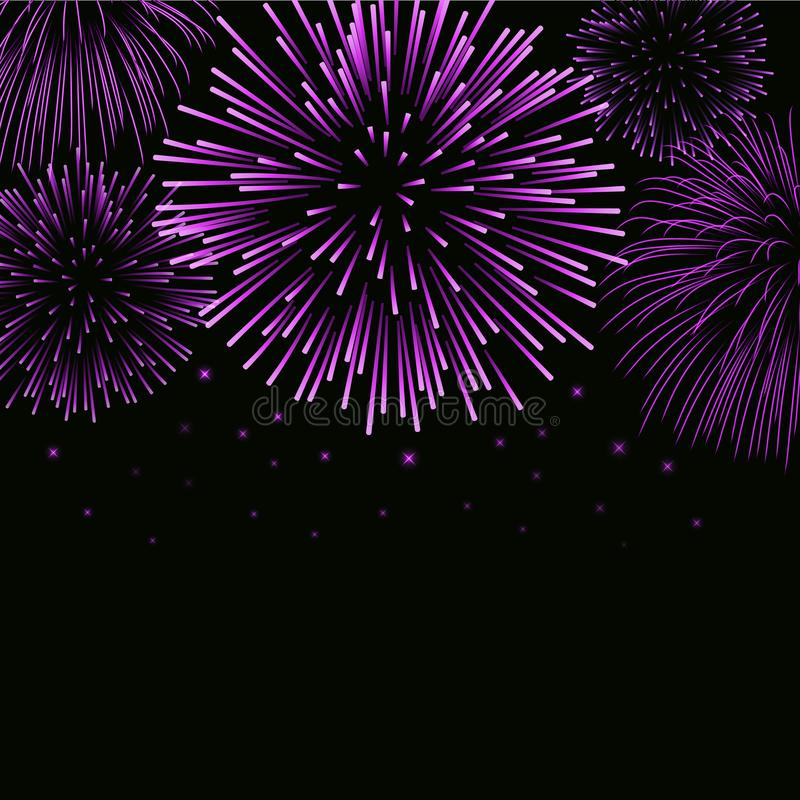 Firework sparkle background card. Beautiful bright fireworks isolated on black background. Light pink decoration royalty free illustration