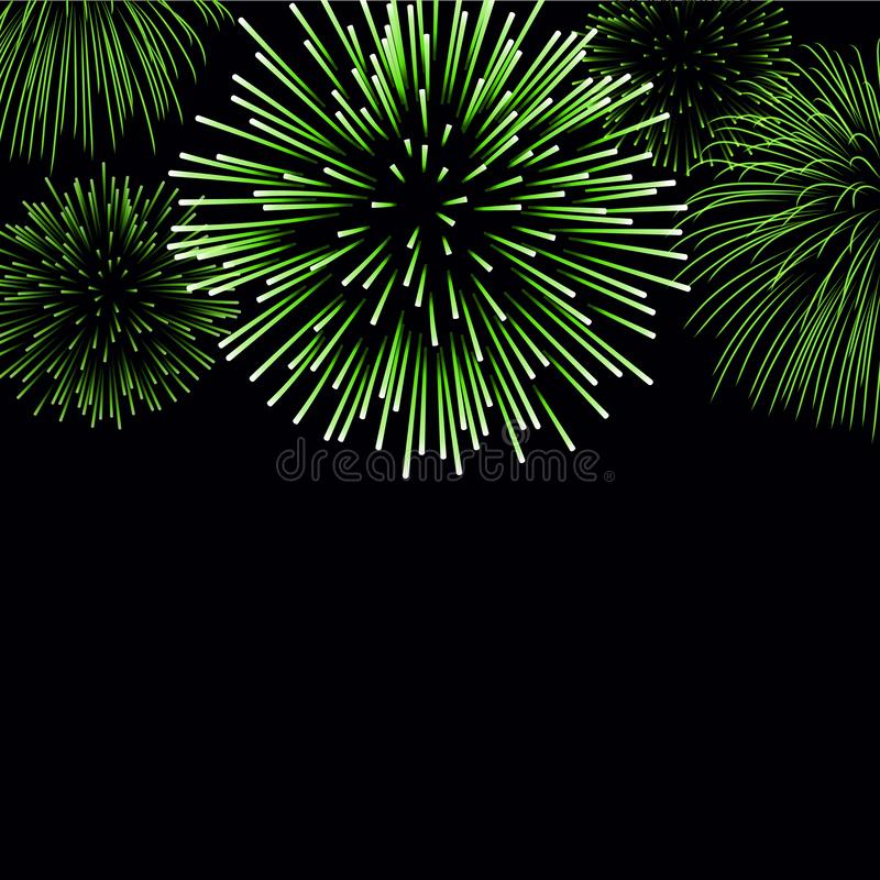 Firework sparkle background card. Beautiful bright fireworks isolated on black background. Light green decoration stock illustration