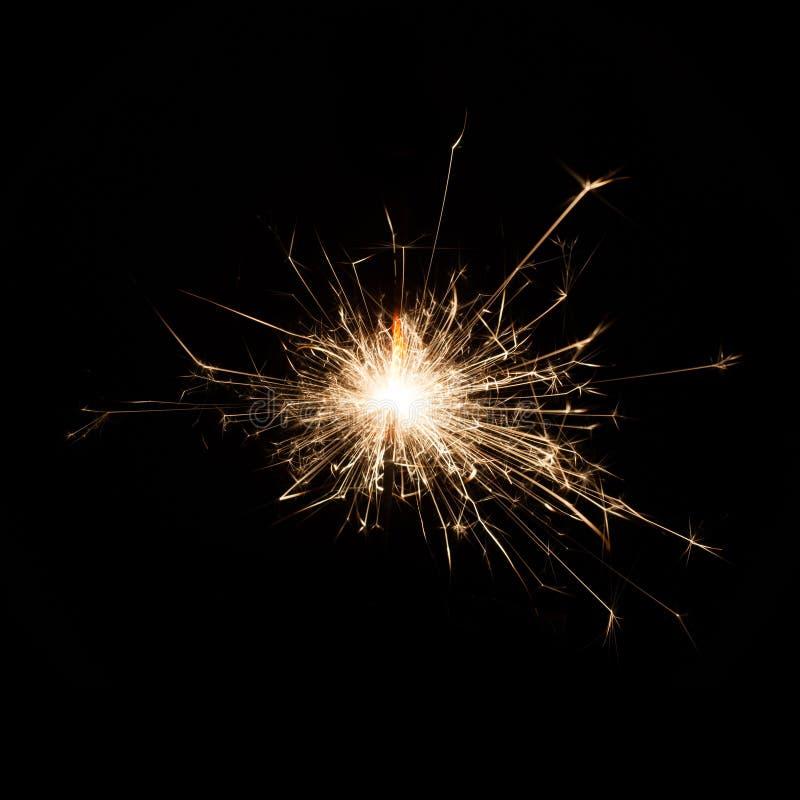 Firework Sparkler on black background stock photography