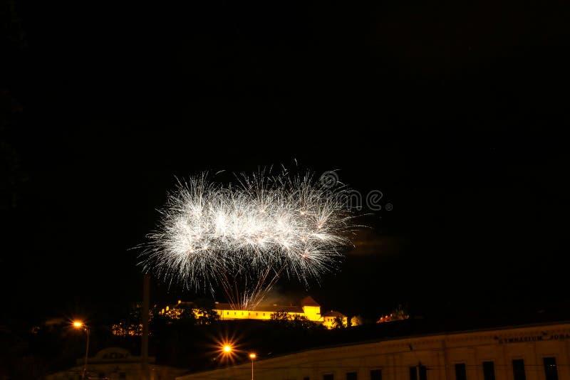 Firework at Spilberk, Brno, Czech Republic stock photo