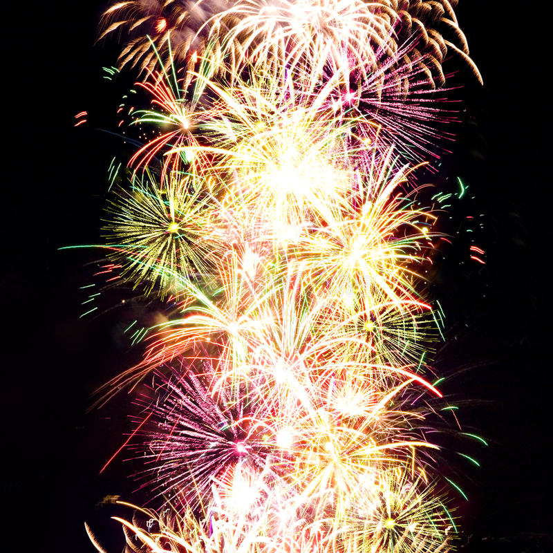 Firework Streaks In Night Sky, Celebration Royalty Free Stock Images