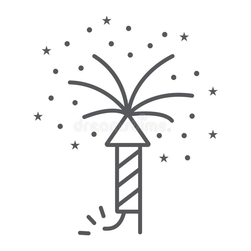 Firework thin line icon, party and festival, firecracker sign, vector graphics, a linear pattern on a white background. Firework thin line icon, party and royalty free illustration