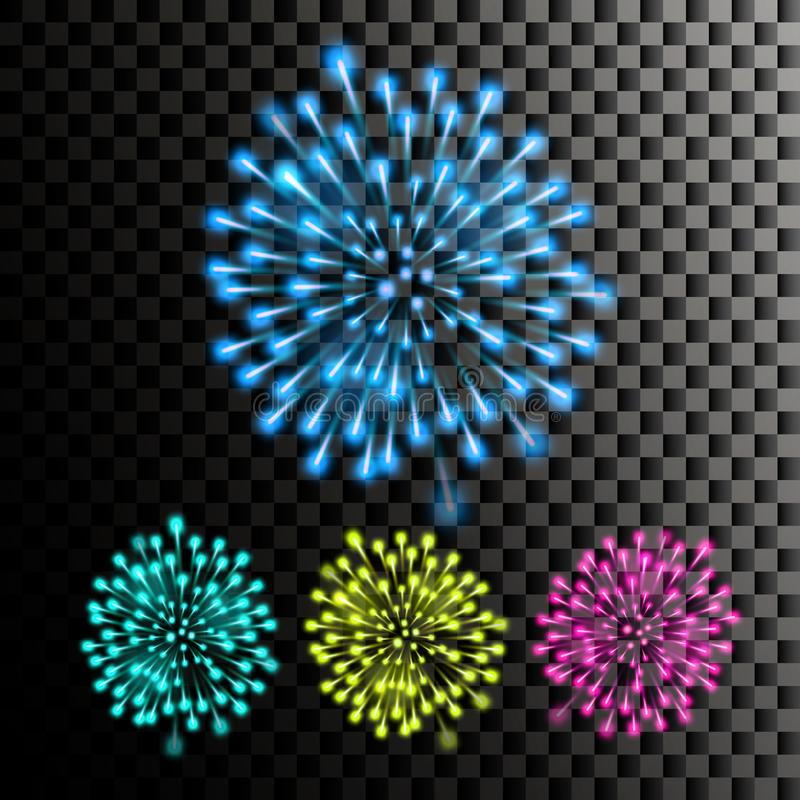 Firework Vector. Festive Carnival Night Sky. Isolated On Transparent Background Realistic Illustration. Firework Vector. Night Carnival Light. Holiday stock illustration
