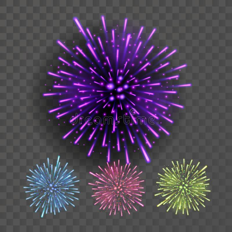 Firework Vector. Night Sky Design Salute Effect. Isolated On Transparent Background Realistic Illustration. Firework Vector. Festive Explosion Light. Isolated On vector illustration