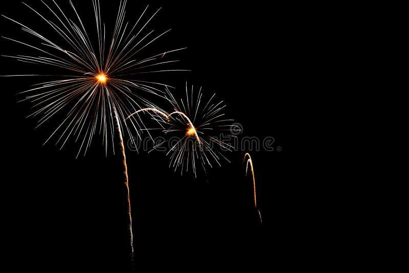 fireworkby nacht stock foto's