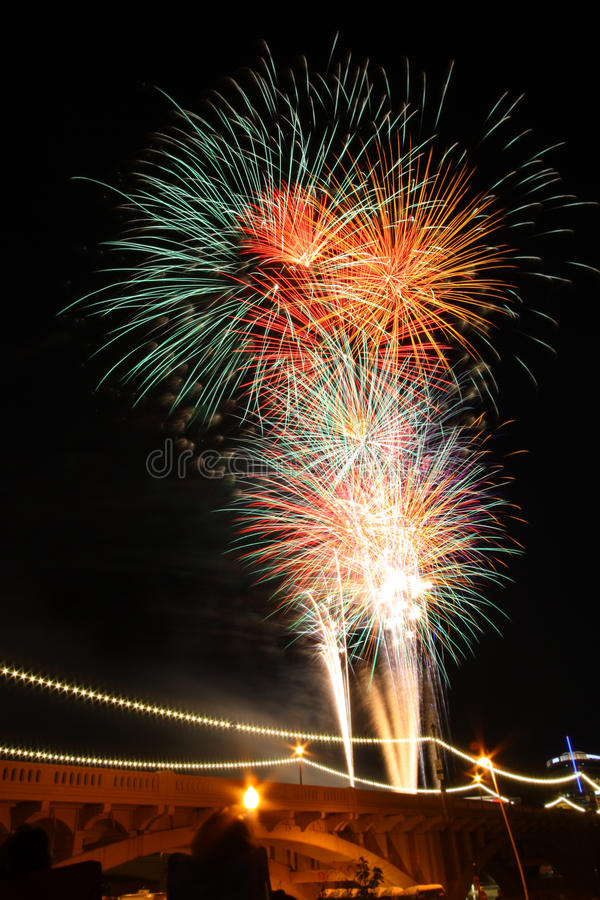 Fireworks. In the night sky royalty free stock photos