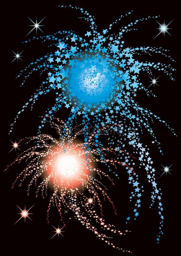 Fireworks. Vector illustration of fireworks with blue and red stars vector illustration