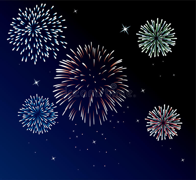 Fireworks. Vector fireworks background of easily rearranged elements royalty free illustration