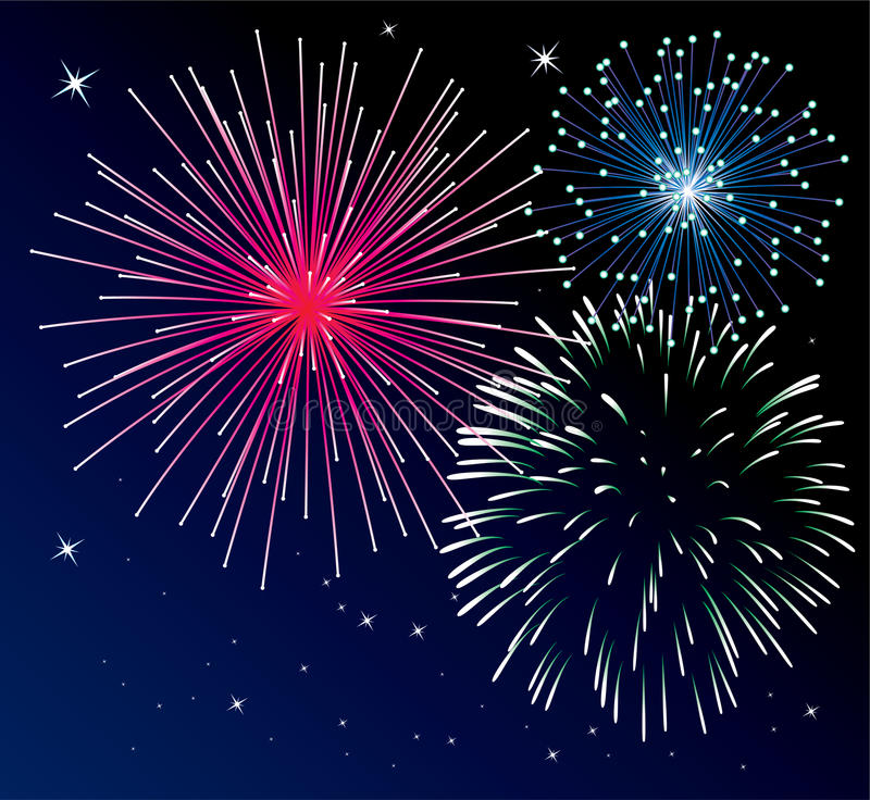 Fireworks. Vector background with three types of fireworks stock illustration
