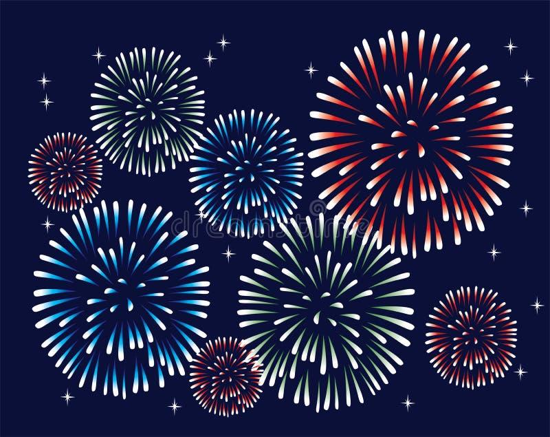 Fireworks. Vector fireworks on the dark sky vector illustration