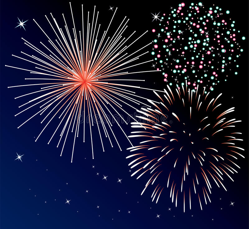Fireworks. Vector background with three types of fireworks vector illustration