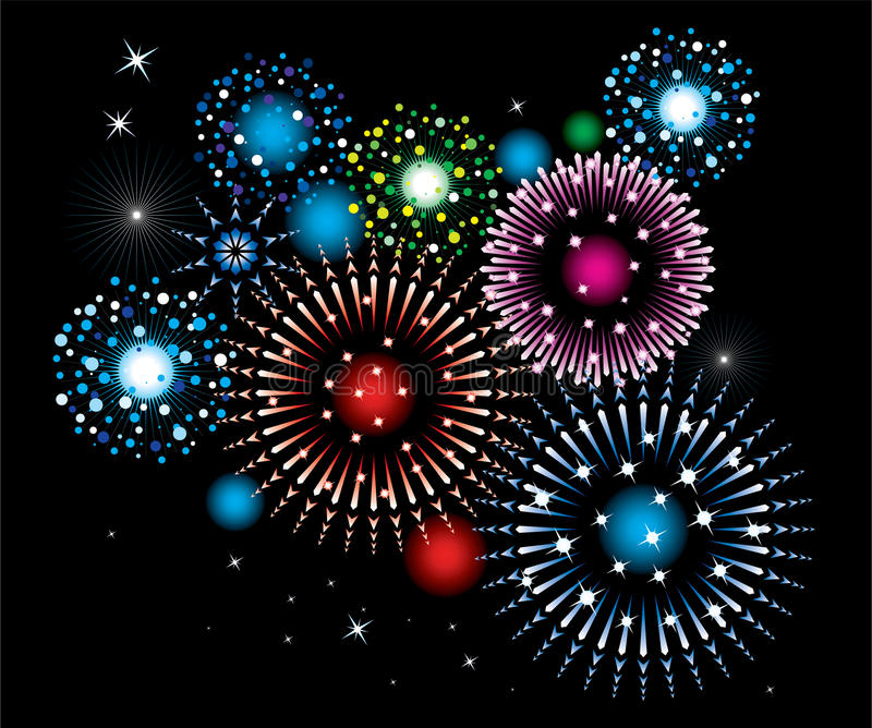 Fireworks. Vector fireworks on black background royalty free illustration