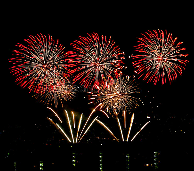 Fireworks. Colorful fireworks display done on Tripod to reduce camera shake stock image