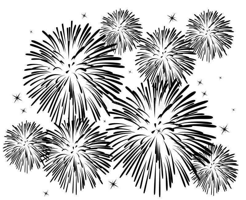 Fireworks. Black and white fireworks background royalty free illustration