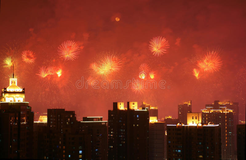 Fireworks. Colorful fireworks over a night sky for Shanghai World Expo open royalty free stock photography