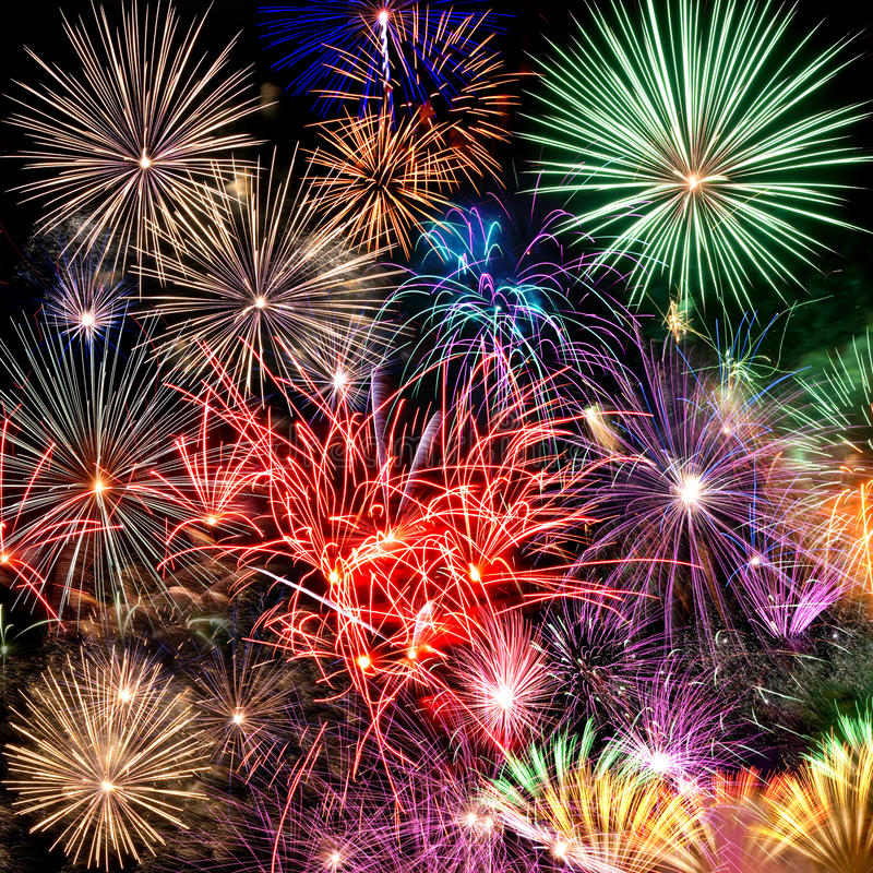Fireworks. Beautiful fireworks background for new year and other celebrations royalty free stock photo
