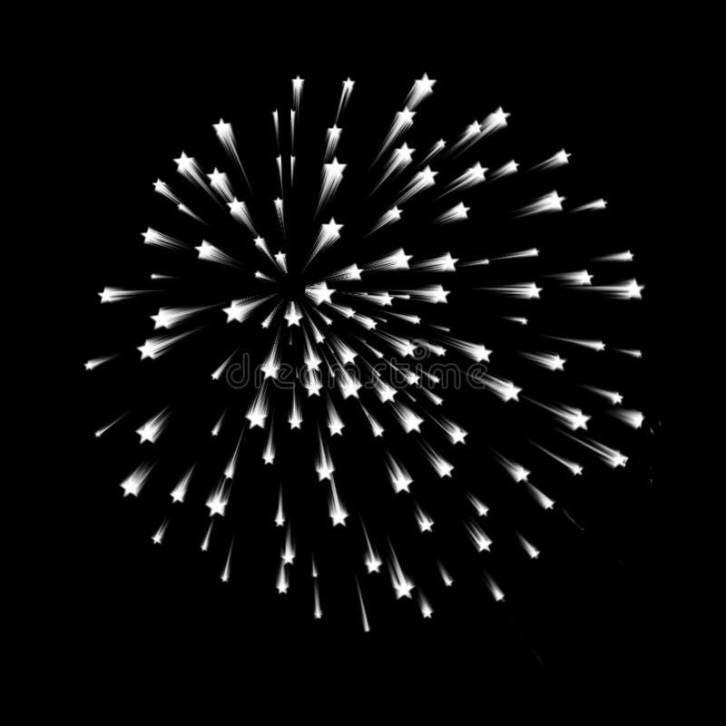 Fireworks. Star shape on a black background stock illustration