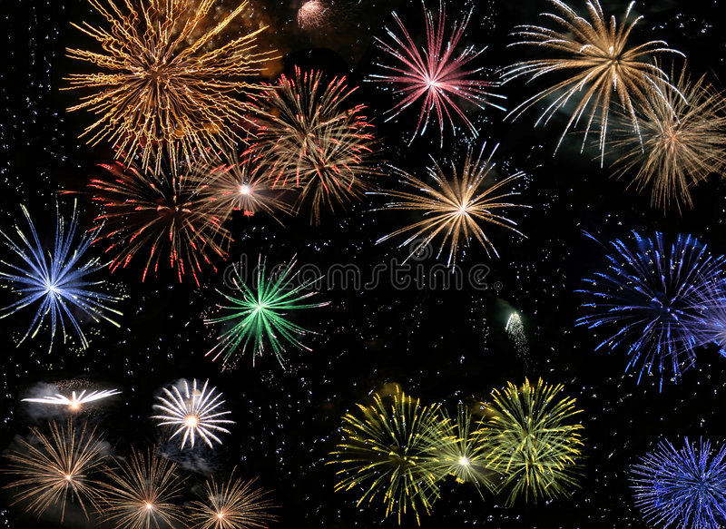 Fireworks. Plenty of fireworks on black sky stock image