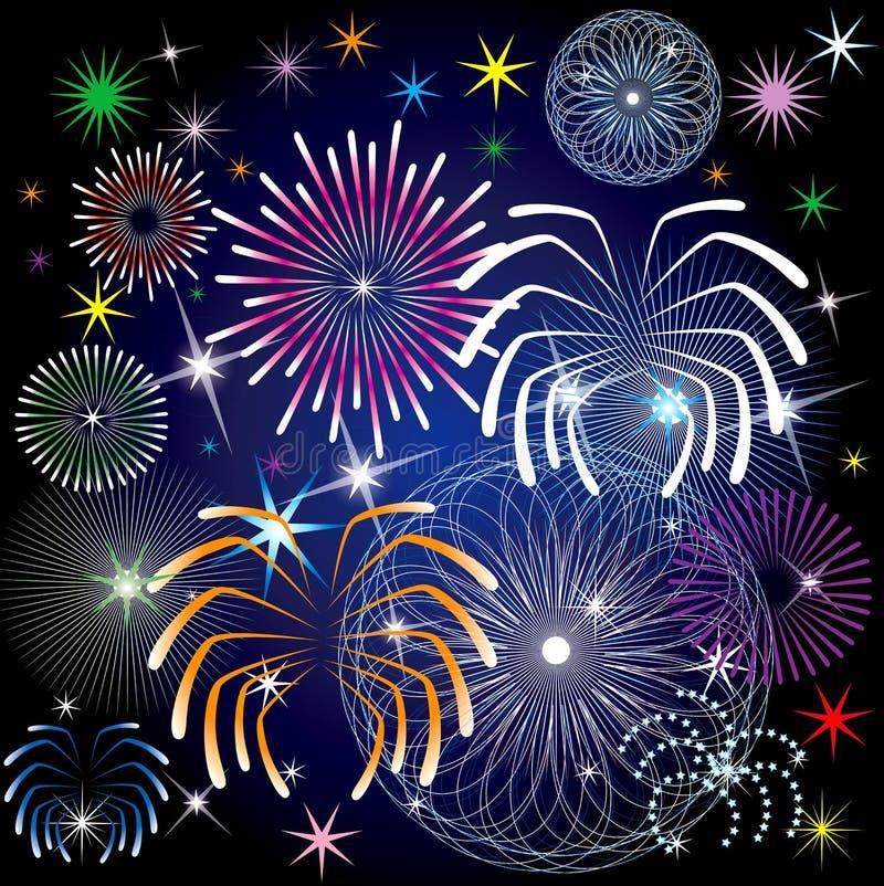 Fireworks. Vector Illustration of colorful fireworks stock illustration