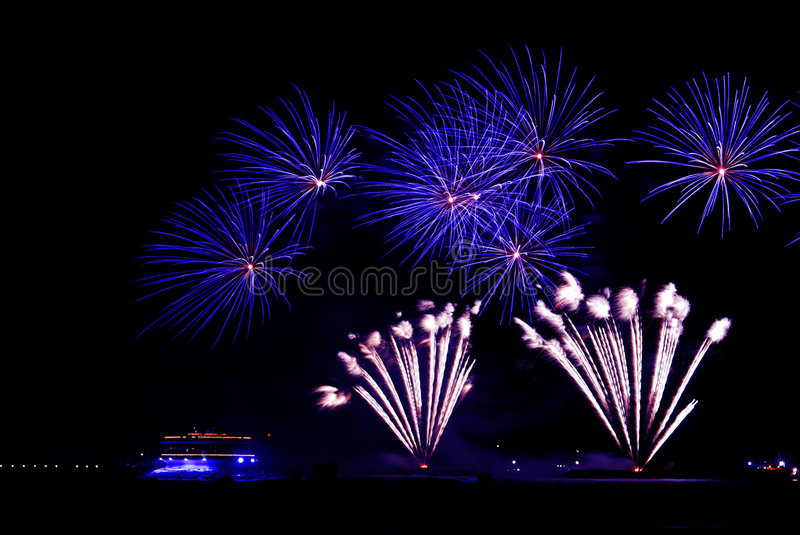 Fireworks. A view of the new year's eve fireworks stock image