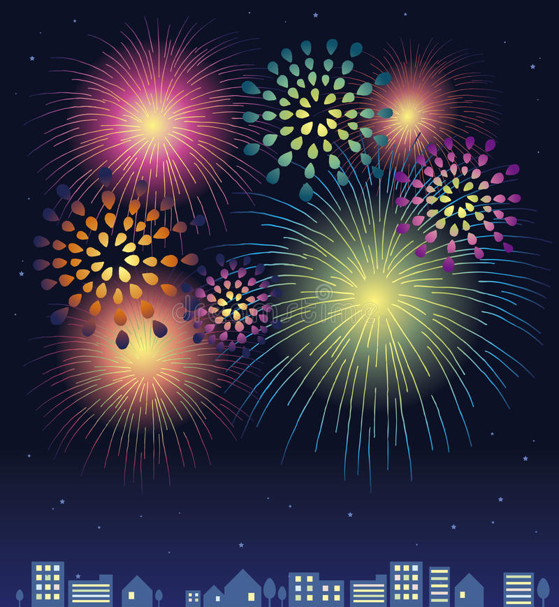 Fireworks. Beautiful various color of night sky fireworks stock illustration
