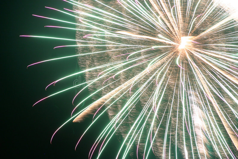 Fireworks. A beautiful close shot of a fireworks display royalty free stock image