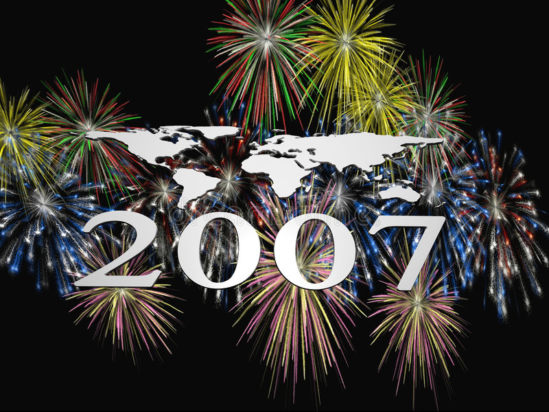 Fireworks 2007. 3D illustration, wallpaper, background. New year 2007 colorful fireworks explosions vector illustration