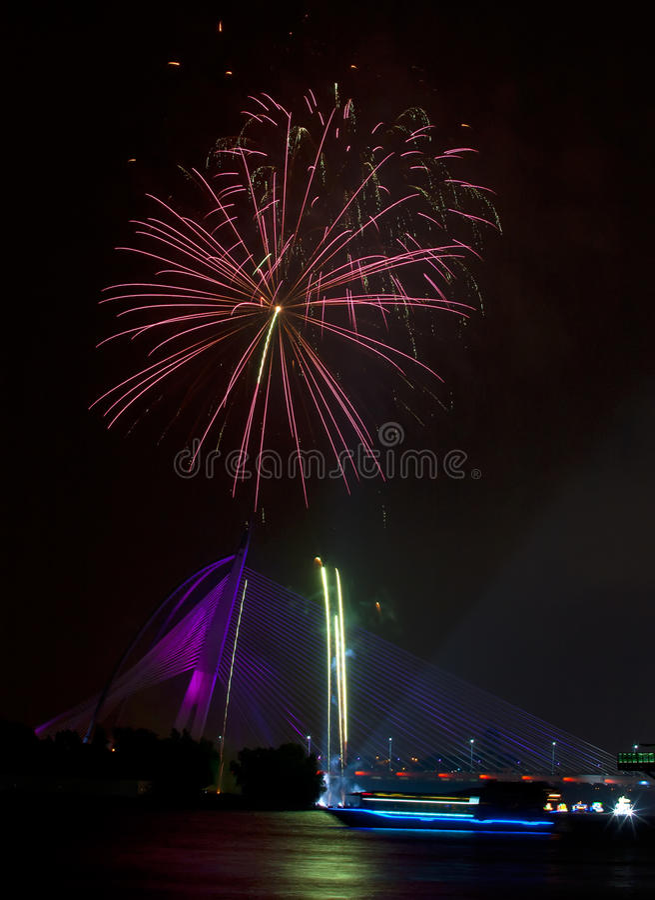 Fireworks At 2011 Putrajaya Floria Festival Editorial Photography