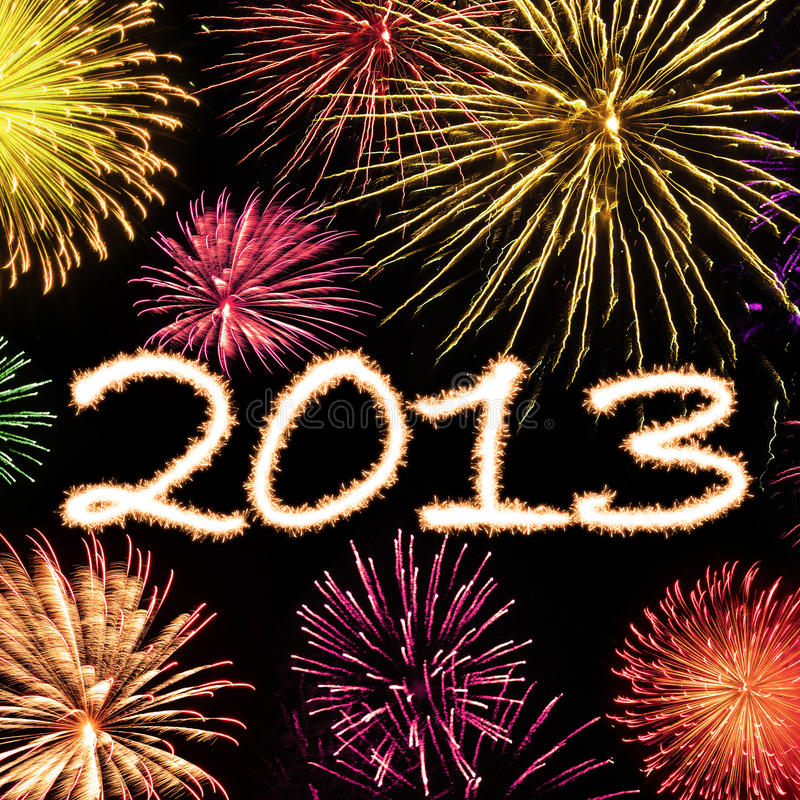 Fireworks 2013 New Year Background. Design for New Year cards stock illustration