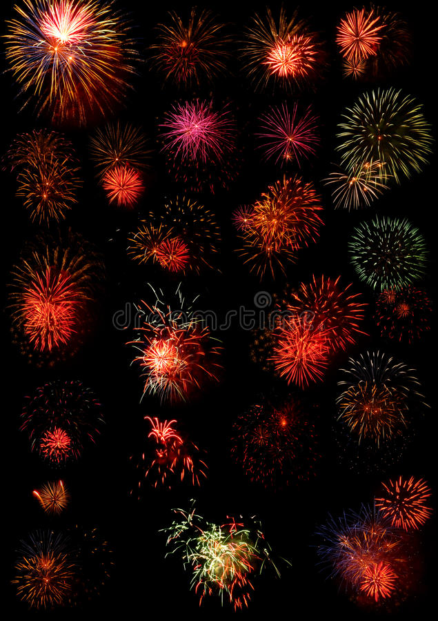 Fireworks. A large display of fireworks on black background stock photography