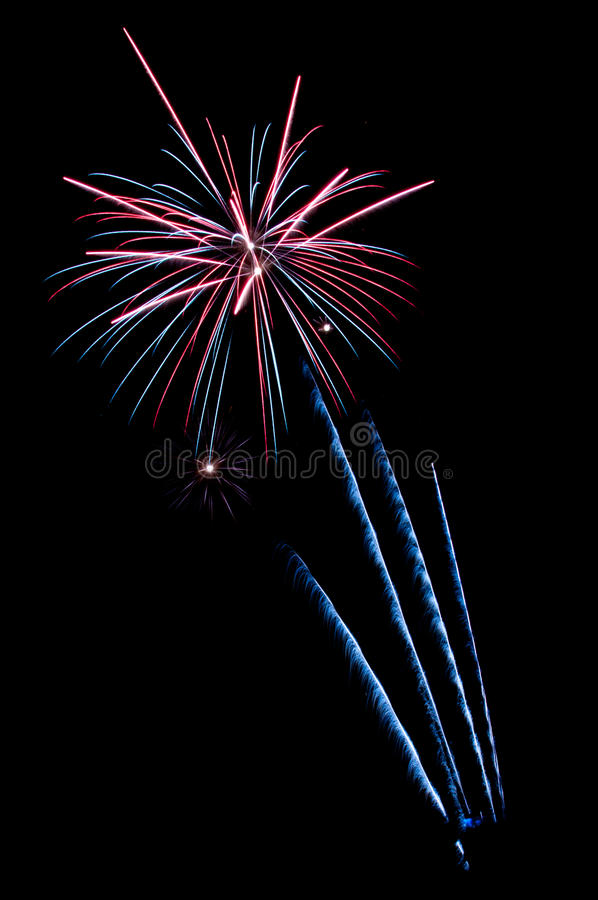 Fireworks. In the night sky royalty free stock image
