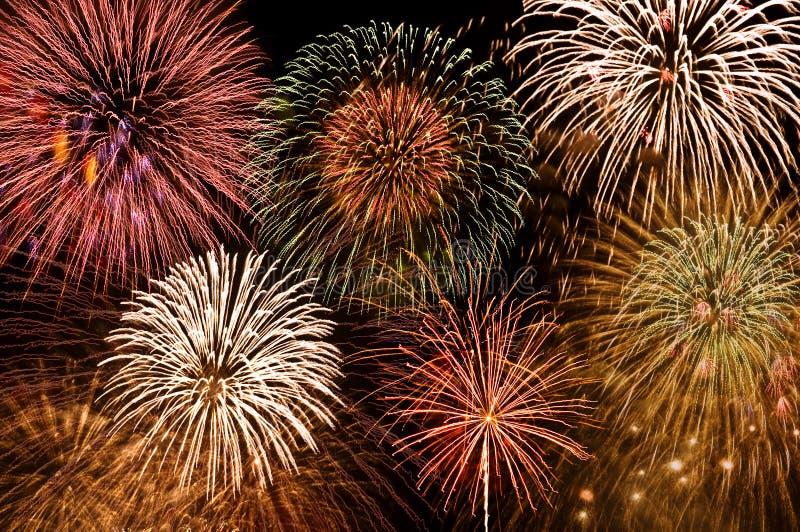 Fireworks. 4th of july fireworks on the black sky background