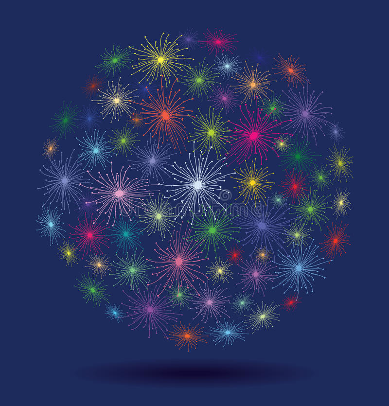Fireworks. Vector colorful fireworks with stars and sparks on blue background vector illustration