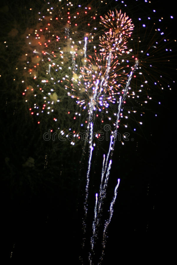 Fireworks. Holiday fireworks in the night sky stock images
