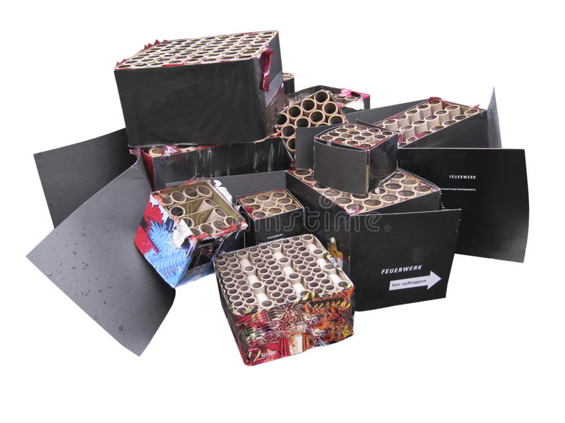 After fireworks. Some empty boxes of fireworks stock photography