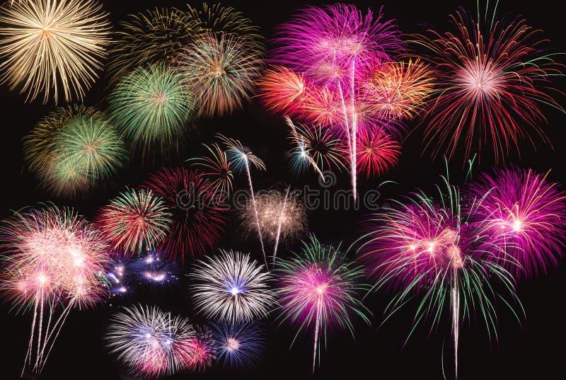 Fireworks. Colorful fireworks on black background stock photos