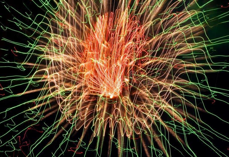 Fireworks. Strange fireworks. In motion. Night black sky royalty free stock photos