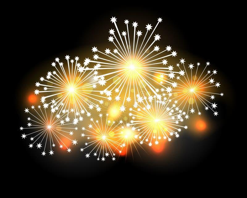 Fireworks. A bright set of fireworks illuminates the night sky stock illustration