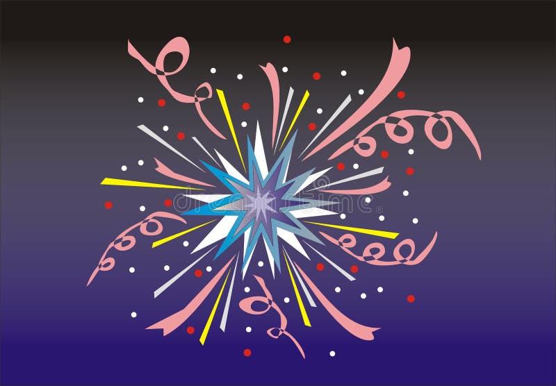 Fireworks. Multi-coloured fireworks on a black - dark blue background royalty free illustration