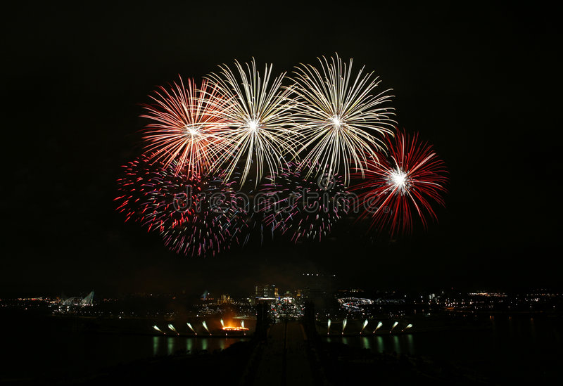 Fireworks. Colourful fireworks display in Putrajaya royalty free stock photo