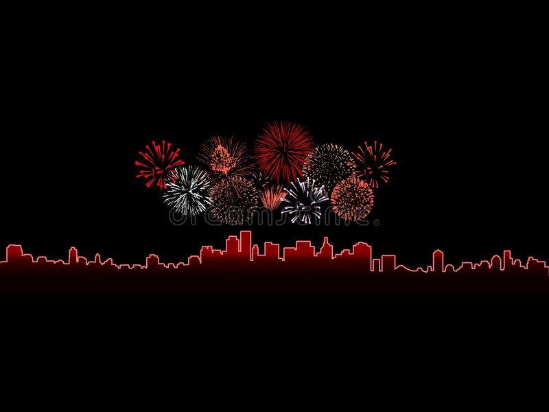 Fireworks. Colorful fireworks isolated against a black sky above a glowing city royalty free illustration