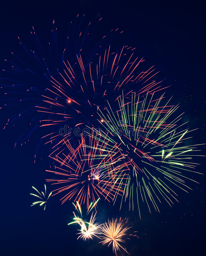 Fireworks 5. Fireworks on Independence Day. Dark sky. 5 royalty free stock photo