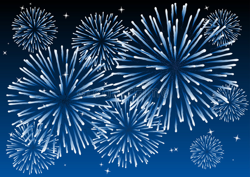 Fireworks. Abstract vector illustration of fireworks in the sky