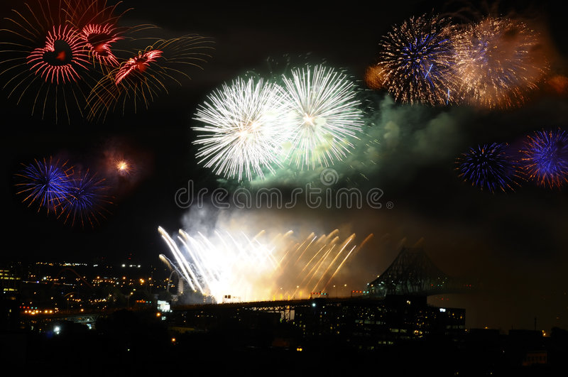 Fireworks. International fireworks festival in Montreal, Canada, in summer 2008 stock images