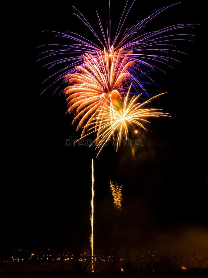 Fireworks. Vibrant colors on black. Fireworks series stock image